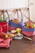 Baskets for fruit and bread hand-made from red and blue checked linen