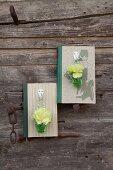 Buch als Vasenhalter: Grüne Nelken in Väschen an Garderobenhaken, am Buch befestigt