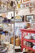 Open shelves and crockery in kitchen