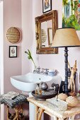 White sink in eclectic bathroom