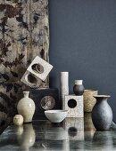 Still-life arrangement of various Japanese Raku ceramics