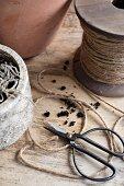Vintage scissors and reel of cord