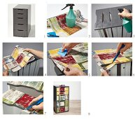 Instructions for covering drawer fronts of chest of drawers with patterned paper