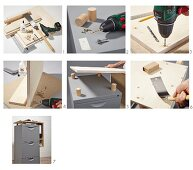 Instructions for making a chest of drawers with raised top