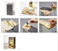 Instructions for revamping a chest of drawers with gilded fronts