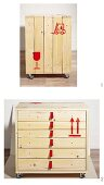 Chest of drawers revamped in packing crate style