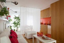 Bright living area in one-room apartment separated by white curtains