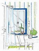 Illustration: Fenstergestaltung mit blauer Fensterlaibung, Streifentapete und luftigem Vorhang im Essbereich