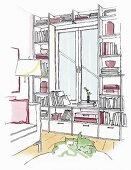 Illustration: integriertes Fenster in Bücherregalwand