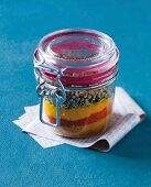 Layered spice mixture in mason jar
