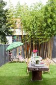 Long wooden table and bamboo in summery courtyard garden