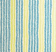 Green and blue non-woven wallpaper with a fishbone pattern