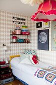 Girl's bedroom in Scandinavian retro style