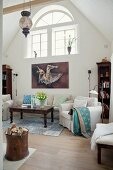 High-ceilinged traditional lounge in restored country house