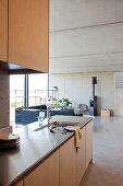Küchenzeile mit Spülbecken in offenem Wohnraum, im Hintergrund Lounge mit Sofa und Kamin