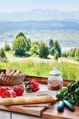 View of summery landscape through kitchen window