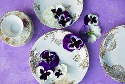 Violas on vintage plates