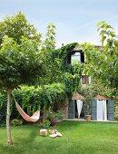 Hammock in sunny garden