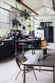 Swing in loft-style workshop
