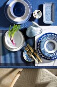 Blue and white crockery with various patterns