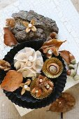 Wintry arrangement of natural materials and pearls