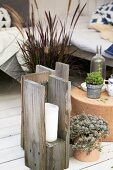 DIY candle lantern made from reclaimed wooden boards