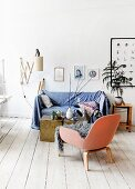 Sofa with blue throw next to potted tree in Scandinavian period apartment