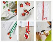 Instructions for decorating tea towels with cut-out strawberry motifs and colourful ribbons