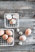 Hens' and quails' eggs in white metal baskets