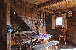 Traditional dining room in historical farmhouse