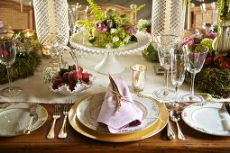 Festively set, rustic-style table