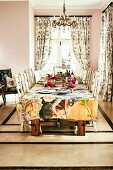 Set table in classic dining room