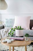 Round wooden table in the living room in modern pastel tones