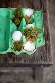 Easter arrangement of green egg box, moss and egg shells on wooden table