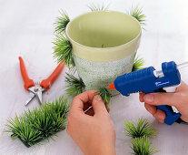 Planter with artificial grass