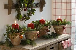 Advent wreath from individual pots