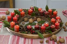 Advent calendar wreath with 24 numbered candles
