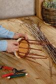 Homemade basket with wooden floor