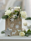 Bouquet with white rose, Abies procera (noble fir)