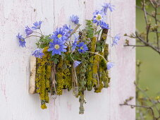Wall decorations with ray anemones and lichen-covered branches