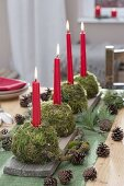 Moss balls as table decoration