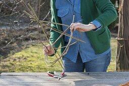 Making a globe basket as a hanging flower basket