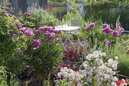 Seating between flowering perennials