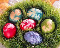 Dyed easter eggs in the wheat nest