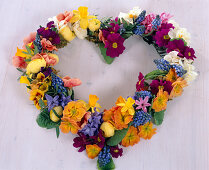 Heart from spring flowers