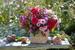 Autumnal bouquet of Rose, aster