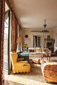 Sunshine falling into traditional living room with antique furnishings