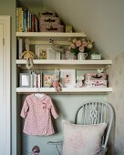Shelves in vintage-style child's bedroom