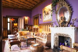 Coffered ceiling and lilac walls in castle