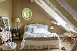 Vintage-style attic bedroom